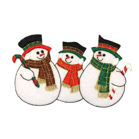 ID 8003 Snowmen With Scarf Patch Christmas Snow Man Embroidered Iron On Applique](Ugly Christmas Scarf)