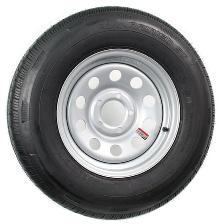Radial Trailer Tire On Rim ST205/75R14 205/75-14 14 5 Lug Wheel Silver Modular