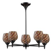 Elk Lighting Celina 5-Light Chandelier in Dark Rust & Multi Fusion Glass