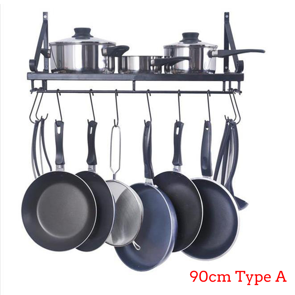 10 Hooks Kitchen Home Wall Mounted Pot Pan Rack Holder ...
