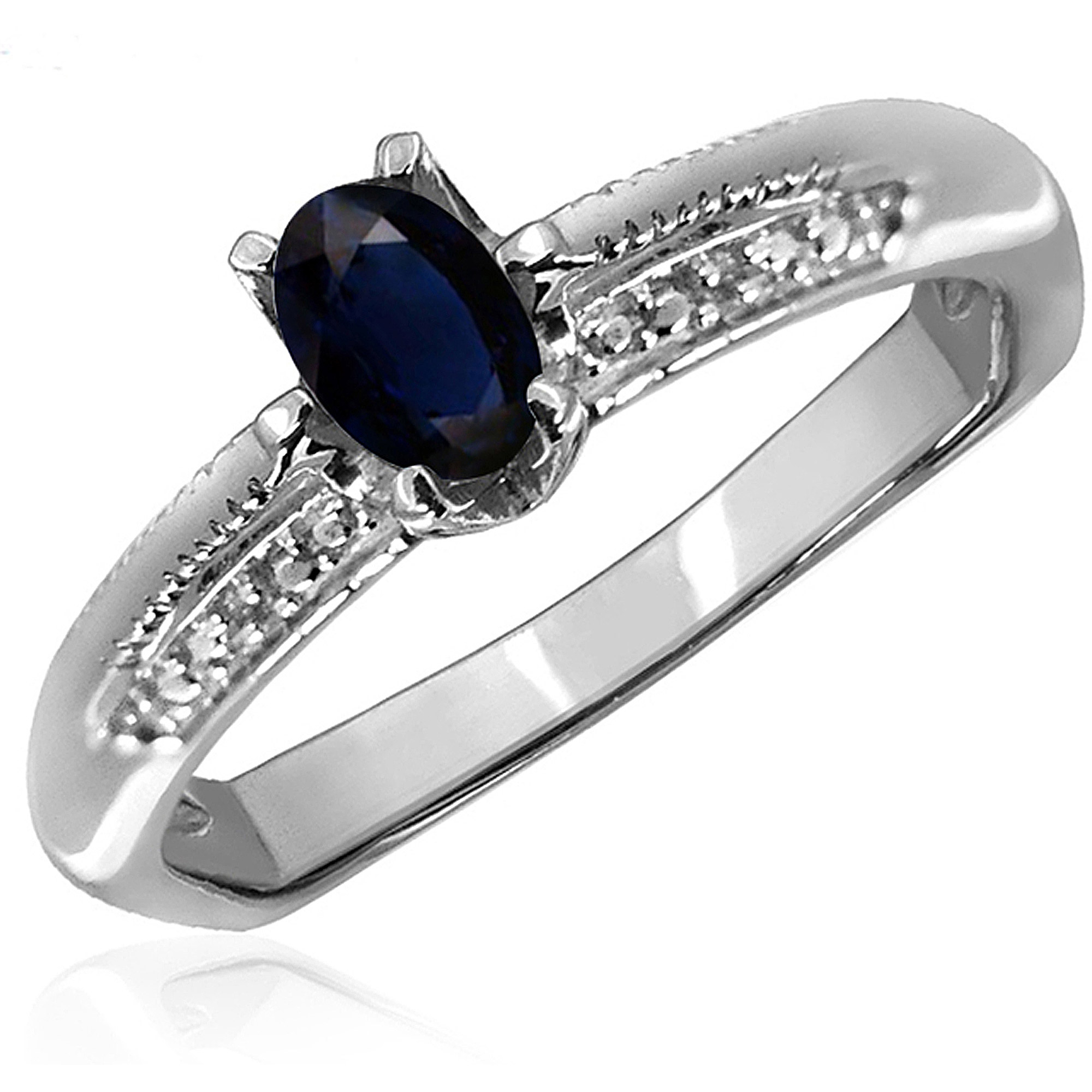 JewelersClub 0.67 Carat T.G.W. Sapphire Gemstone and Accent White Diamond Women's Ring