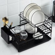 2-Tier Sink Rack Dish Drainer Kitchen Sink Rack Storage Rack, Over The Sink Dish Rack, Stainless Steel / Metal + PP