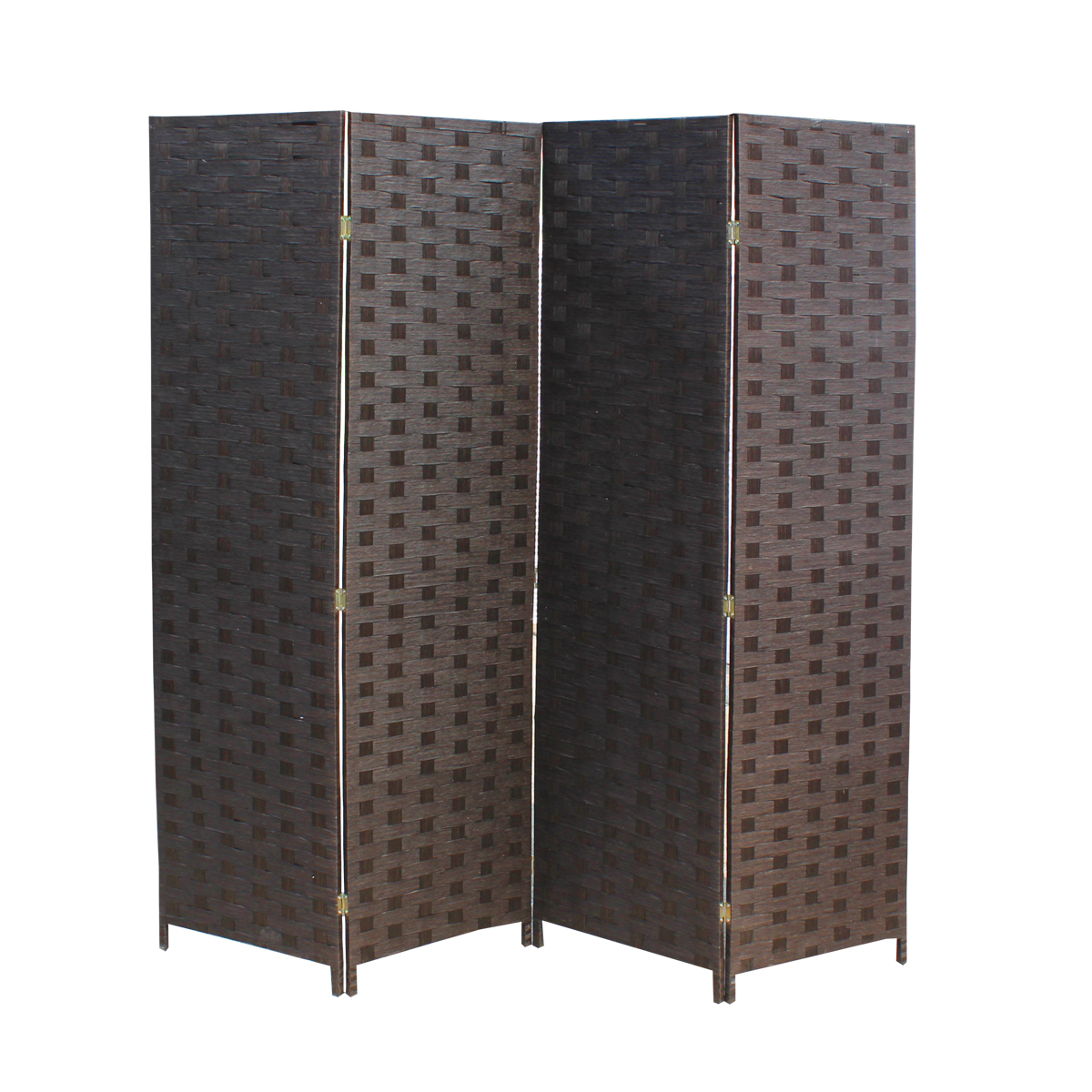 Wood Mesh Woven Design 4 Panel Folding Wooden Screen Room Divider