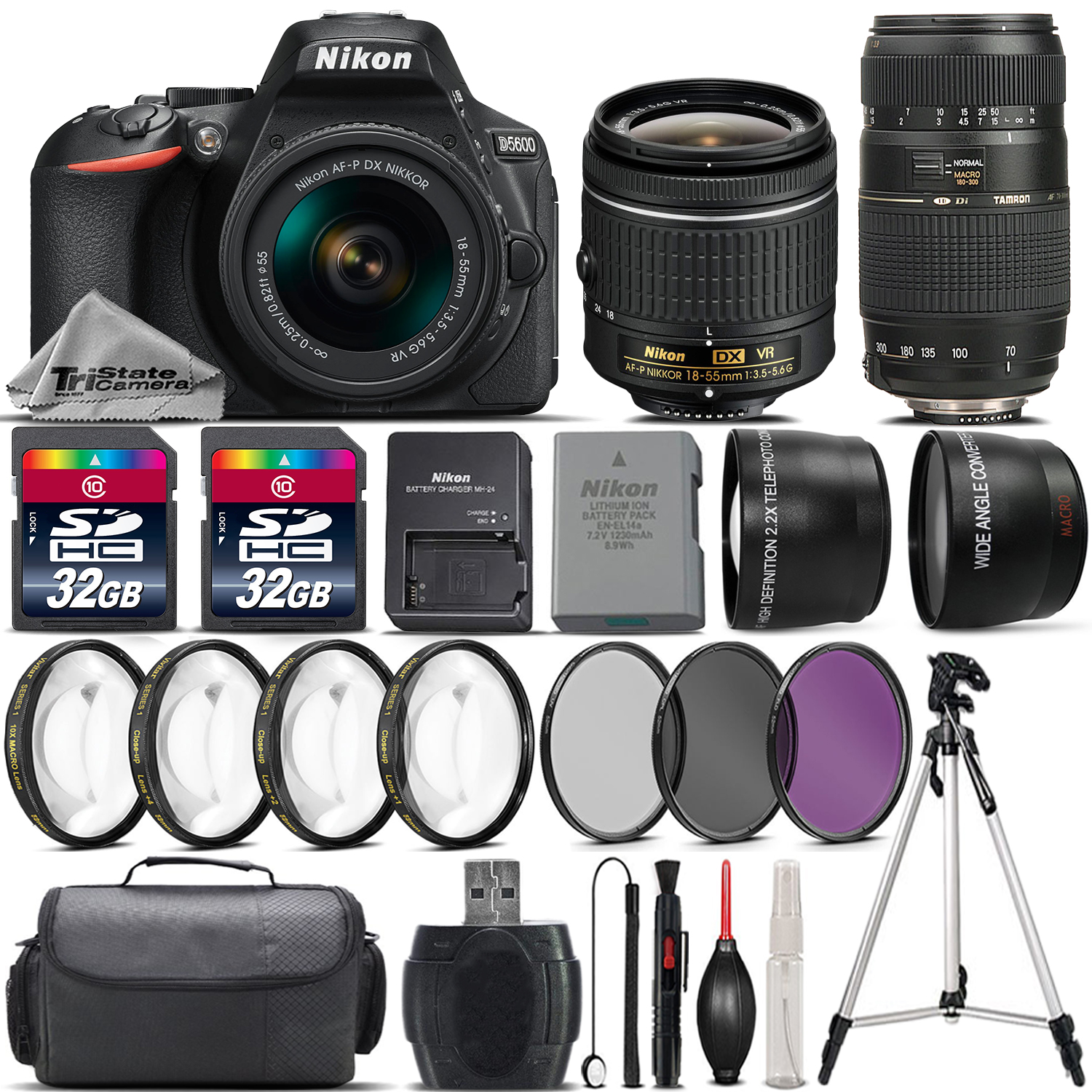 Nikon D5600 DSLR Camera with 18-55mm VR Lens + 70-300 Lens + 64GB Bundle Kit