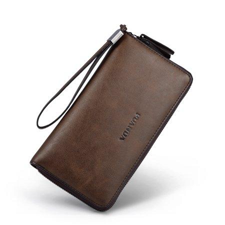Allcaca Vintage Mens Leather Wallet High Large Capacity Clutch Bag Handbag