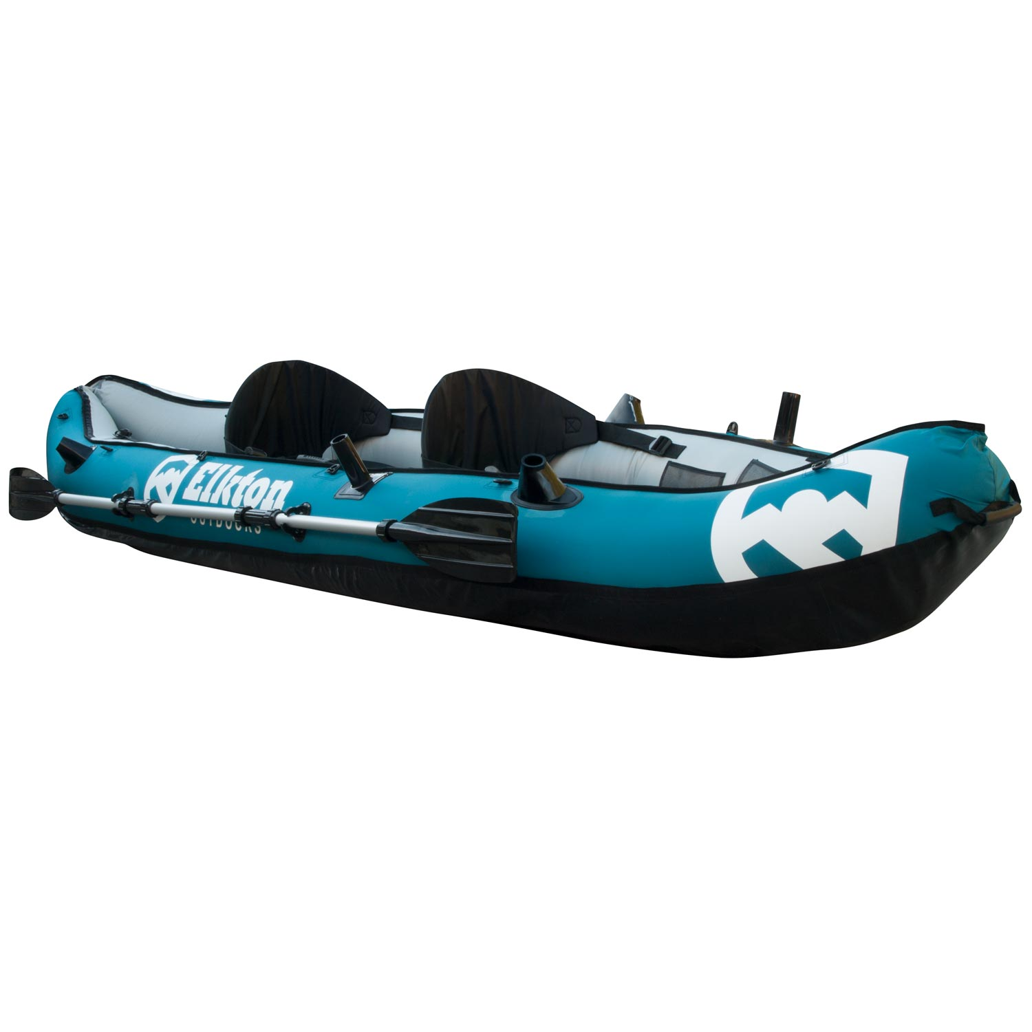 Elkton Outdoors 10' Foot Inflatable Tear Resistant Fishing Kayak With Double Sided Oars, Rod Holders, Foot Pump & Repair... by Elkton Outdoors