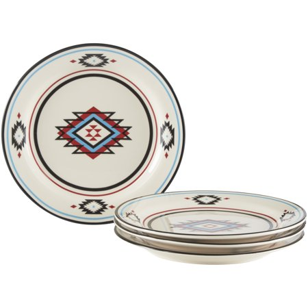 Mainstays Southwestern Border Collection Beige Stoneware Salad Plate Set, 4 Count