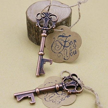 50pcs Wedding Favors Skeleton Key Bottle Opener with Escort Tag Card For You Stamp - Bottle Openers Wedding Favors
