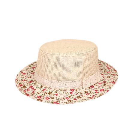 Lace Band Floral Brim Porkpie Straw Hat