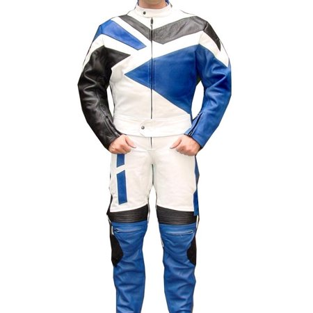 Perrini 2 PC Genuine Leather Motorbike Motorcycle Drag Racing Suit Blue with Metal Waist