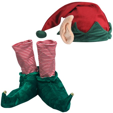 (Set) Festive Christmas Holiday Elf Slippers And Hat w/ Built In Ears - MD - Elf Hats For Kids