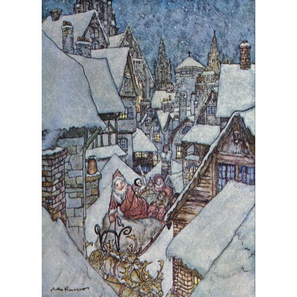 The Night Before Christmas 1931 Santa Sleigh Stretched Canvas Arthur Rackham 24 X 36 Walmart Com Walmart Com