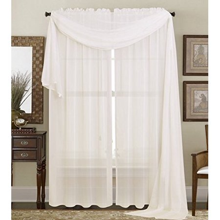 Airpro White 2 Light - 2PC Solid Sheer Panel Curtain Drape Long Fully Stitched for Wedding Quinceniera party décor avilable in Multiple Colors and Sizes ( 84