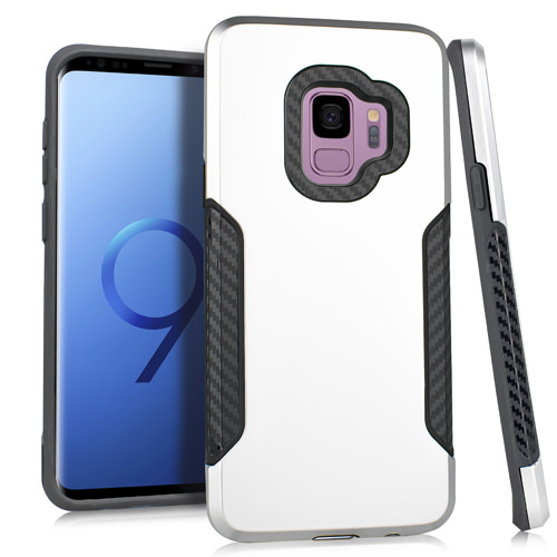 MUNDAZE Silver Rugged Carbon Grip Hybrid Case for Samsung Galaxy S9 PLUS Phone