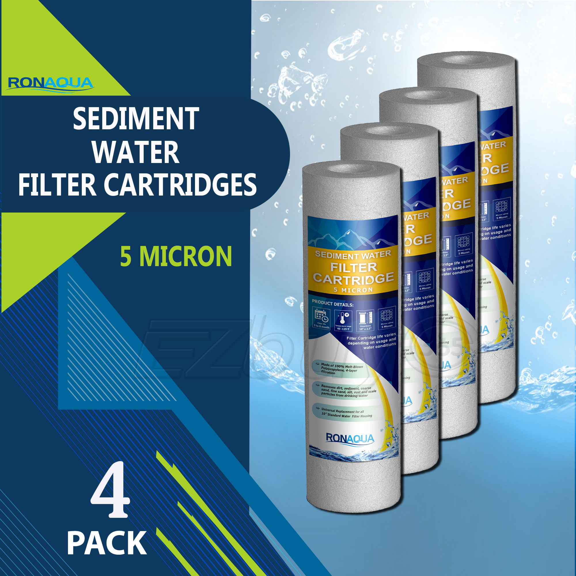 "Sediment Water Filter Cartridge by Ronaqua 10""x 2.5"", Four Layers of Filtration, Removes Sand, Dirt, Silt, Rust, made from Polypropylene (4 Pack, 5 Micron)"