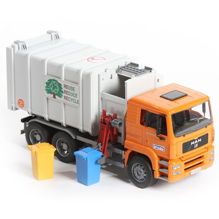 Bruder Toys MAN Side-Loading Garbage Truck with 2 Refuse Bins | 02761