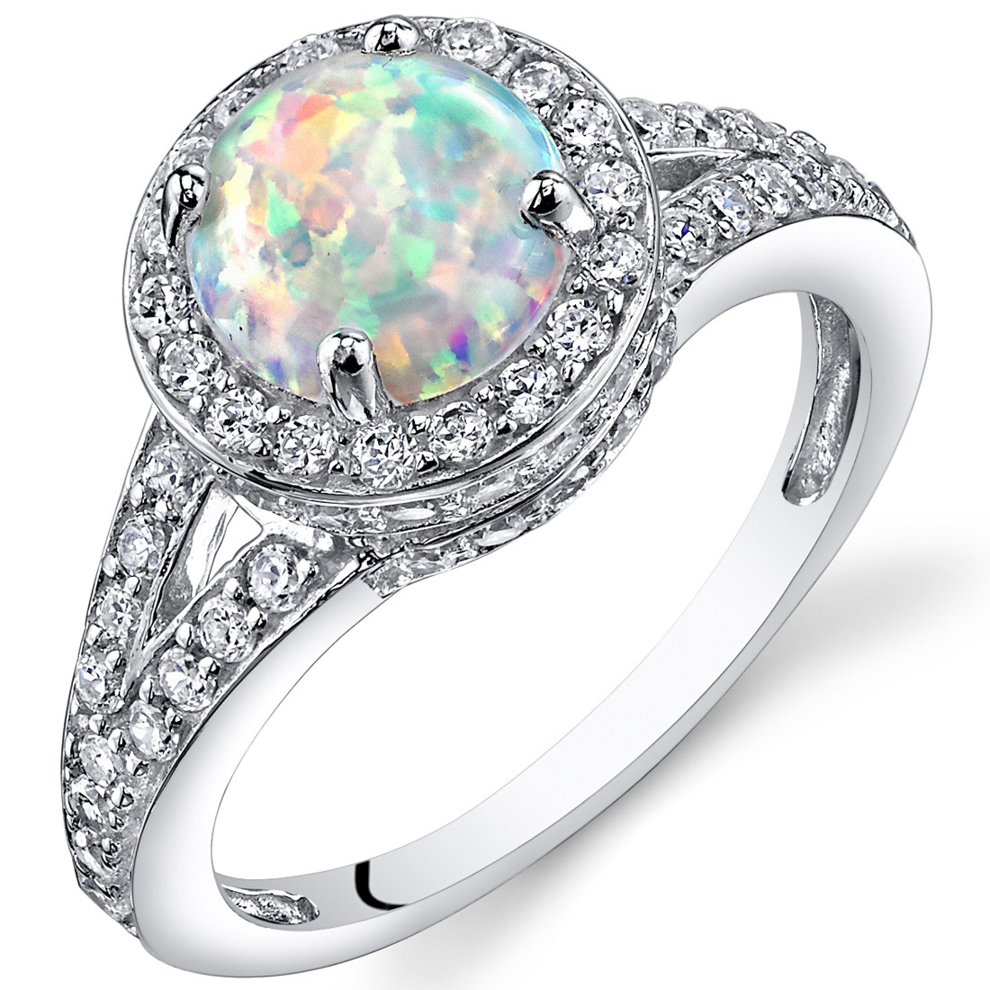 Peora 1.25 Ct Created Opal Engagement Ring in Rhodium-Plated Sterling Silver