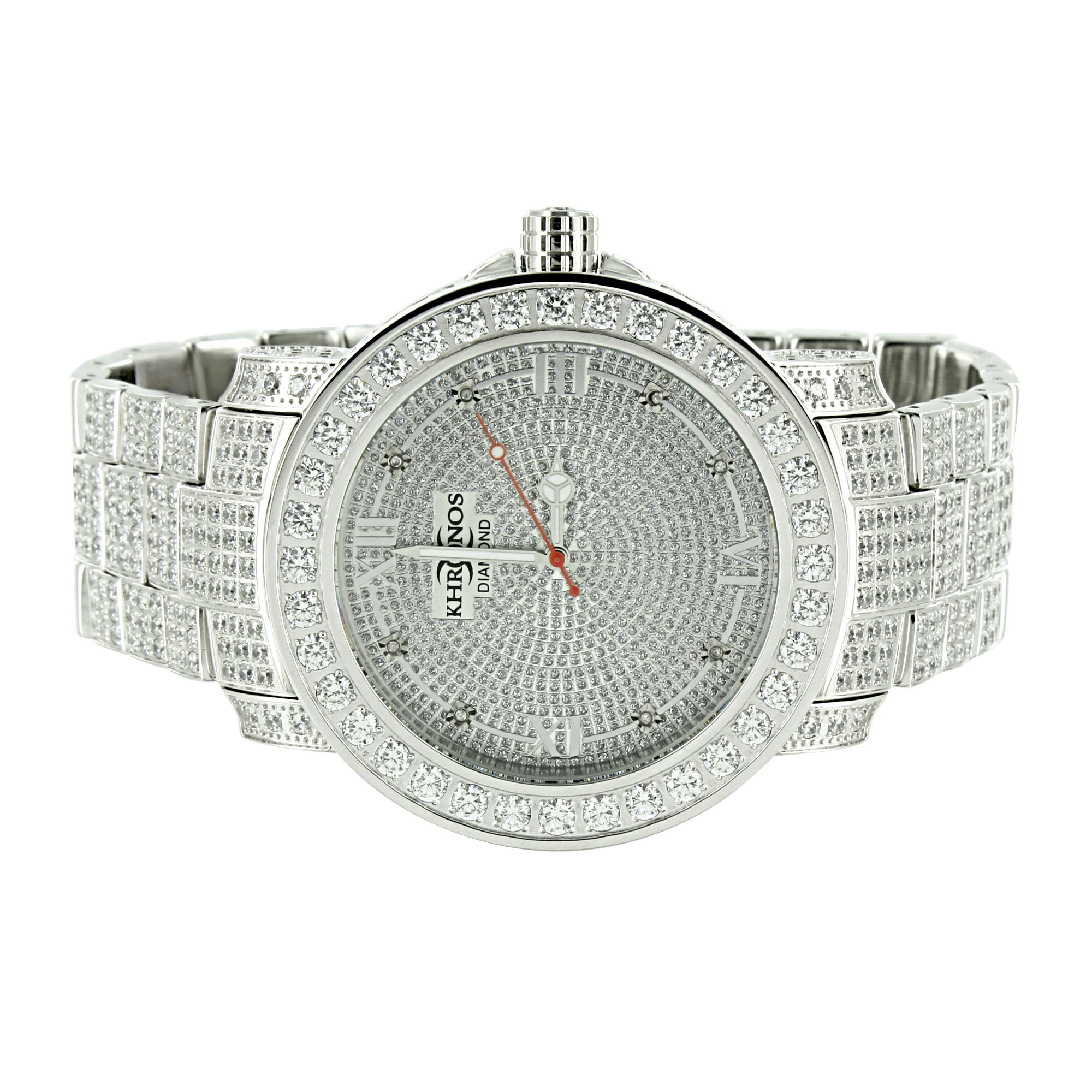 Iced Out Mens Watch Genuine Diamond Khronos Full Iced Out...