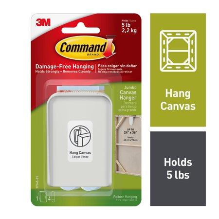 Command Jumbo Canvas Hanger, White, 1 Hook, 4 Strips (Holds 5 lb)