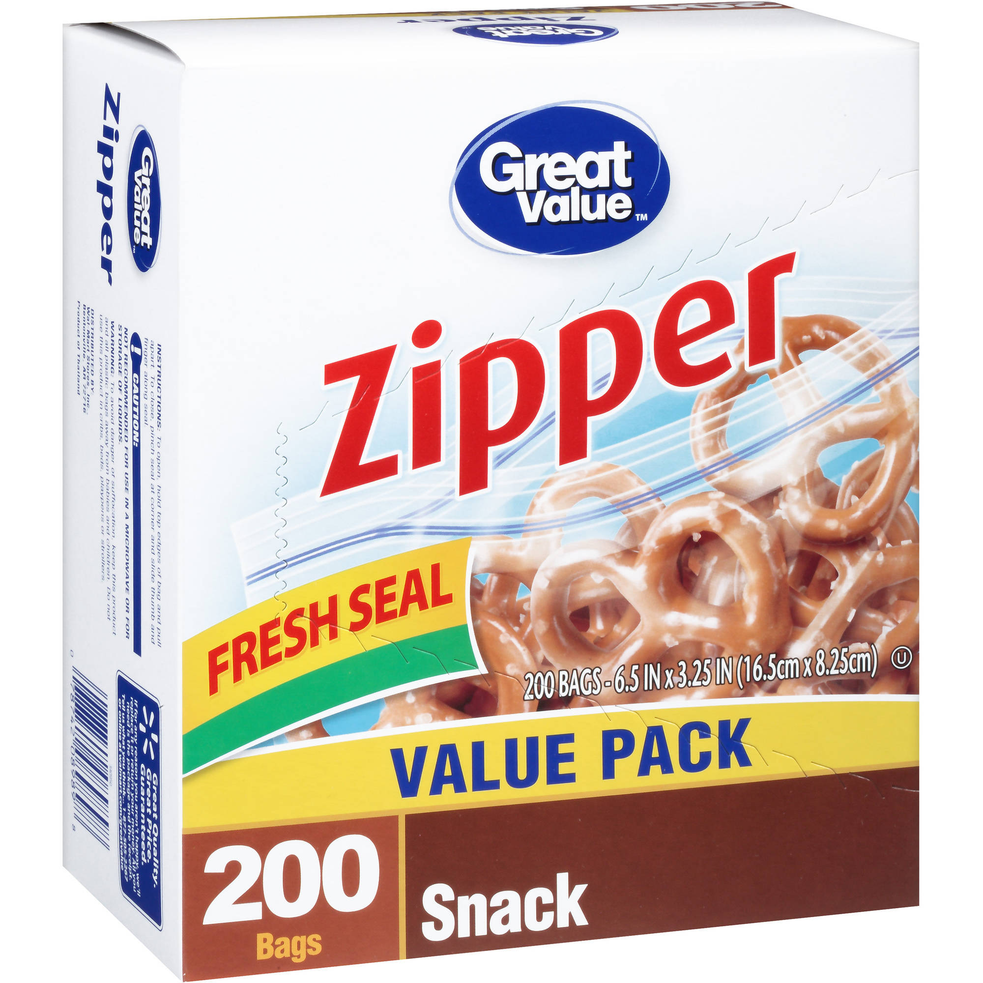 Great Value Zipper Snack Bags, 200 count