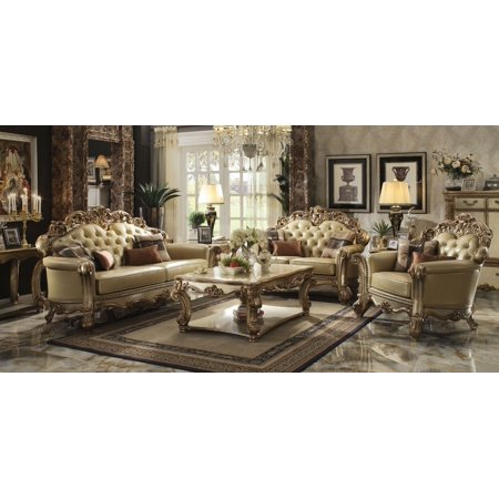 Vendome Antique Baroque Traditional 3pc Sofa Loveseat Chair Gold Finish Formal Bone PU Couch Set ()