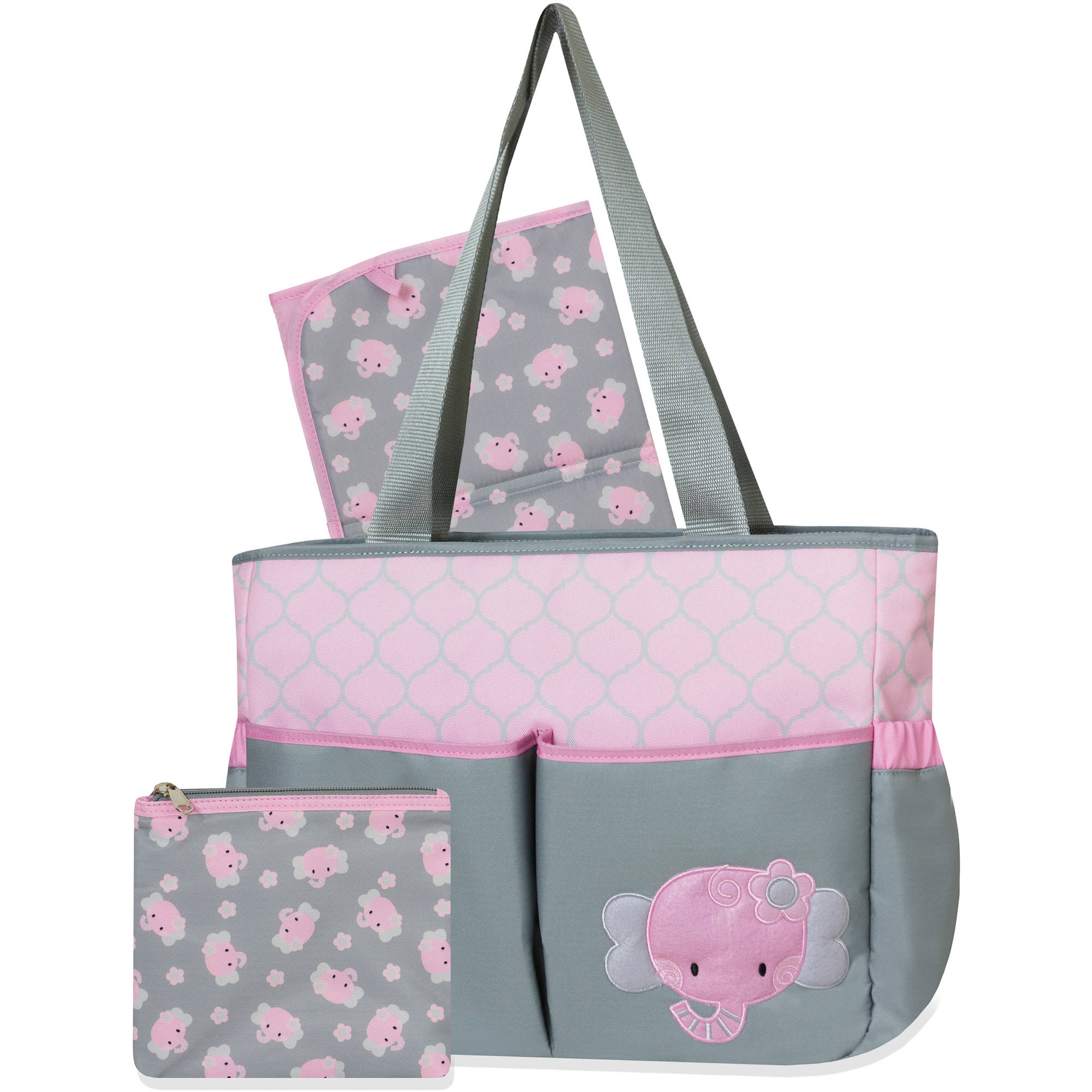 Tender Kisses Elephant Diaper Bag Set with Bonus Zipper Pouch