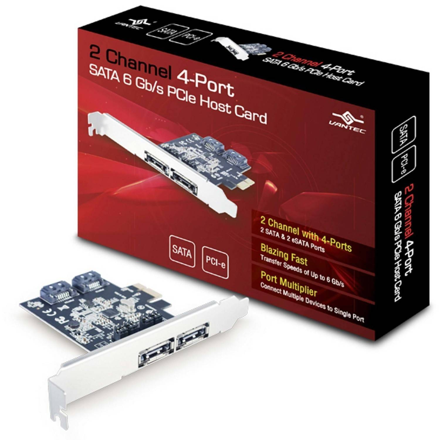 Vantec UGT-ST622 2-Channel 4-Port SATA 6GBps PCIe Host Card, Silver