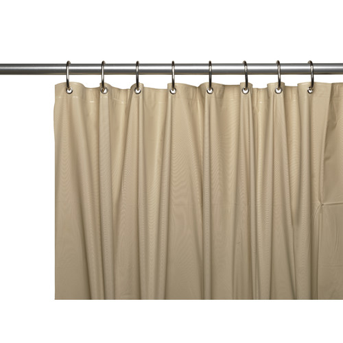 "Extra long 5 gauge vinyl shower curtain liner with metal grommets in Linen, size 72"" wide x 84"" long"