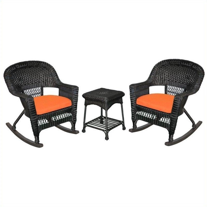Jeco 3pc Wicker Rocker Chair Set in Black with Orange Cushion