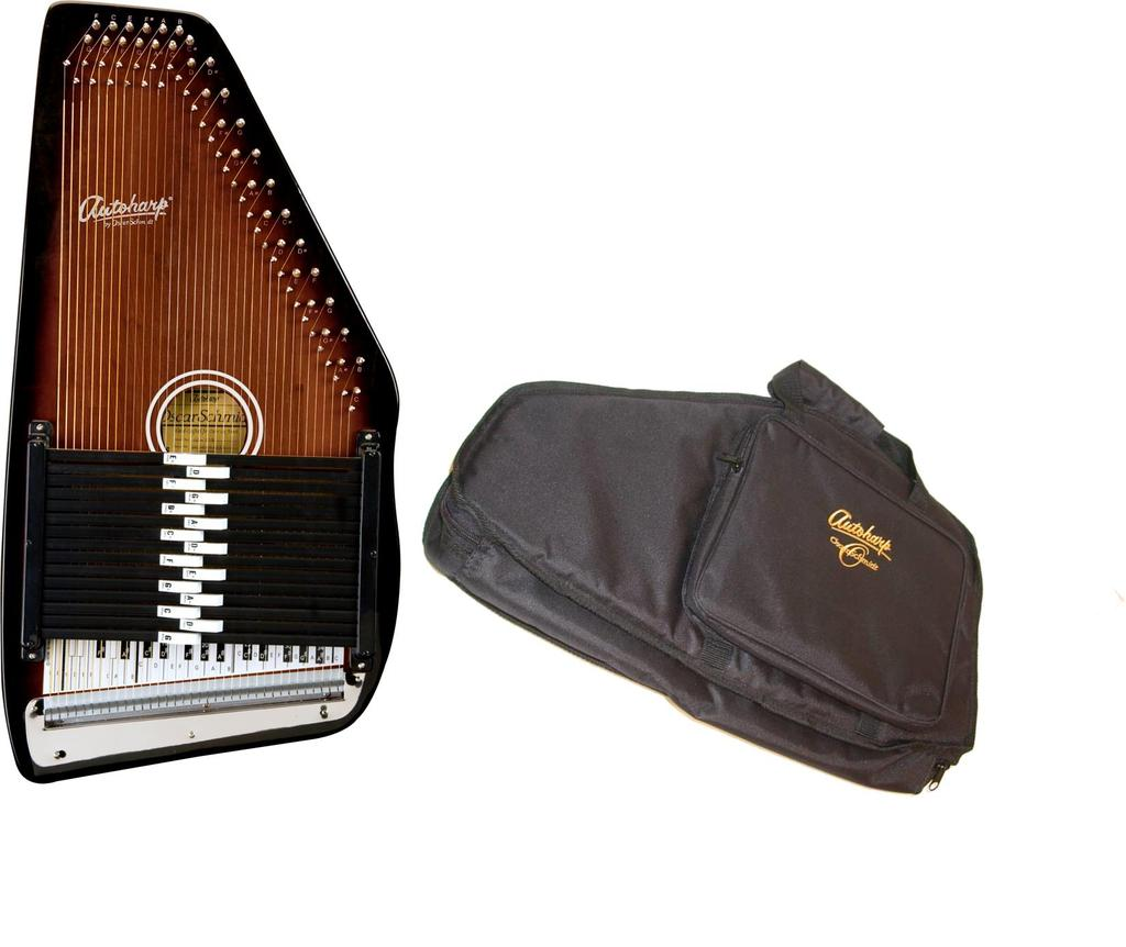Oscar Schmidt 15 Chord Autoharp w  Gig Bag, Maple Body, Sunburst Finish, OS15B-AC445 by Oscar Schmidt