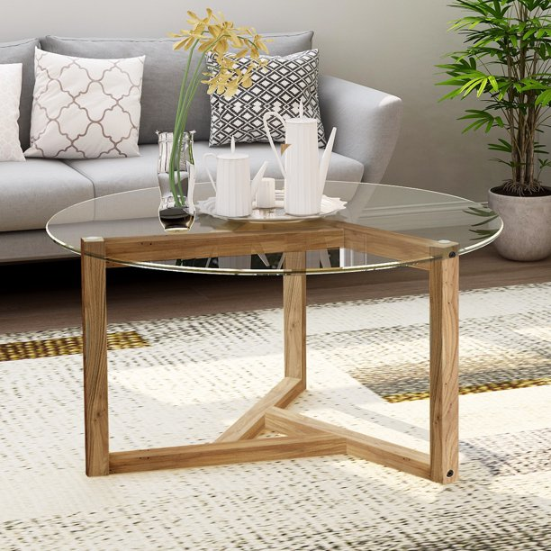 36 inch Round Coffee Table with Clear Tempered Glass, Oak