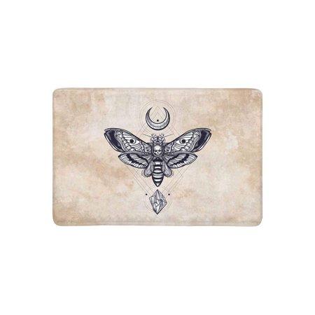 MKHERT Psychedelic Death's Head Hawk Moth with Moons and Stones Doormat Rug Home Decor Floor Mat Bath Mat 23.6x15.7 inch