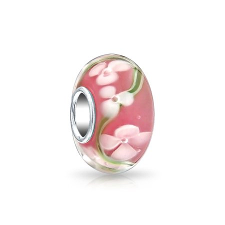 Pink White and Green Murano glass Lampwork Floral Charm Bead .925 Sterling Silver
