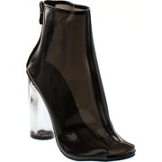 Forever Clear-24 Clear Translucent Transparent Lace Up Peep Toe Ankle bootie w Perspex Block Heel, Black, 5.5