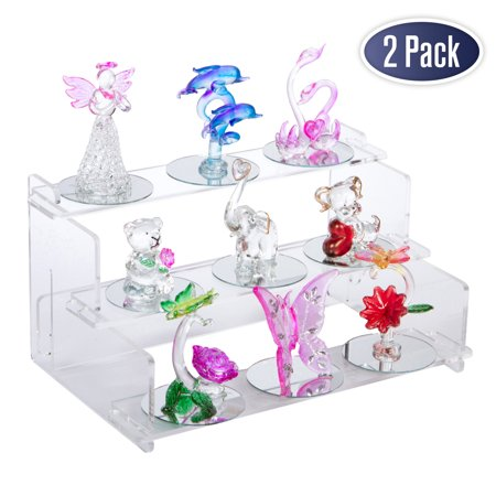 Acrylic Display Riser Step Stand: 9 x 6 inches - 2 Pack, Nail Polish Organizer, Tiered Spice Rack, Display Shelves for Collectibles, Toys, Action Figures, Essential Oil, Rock Collection, and