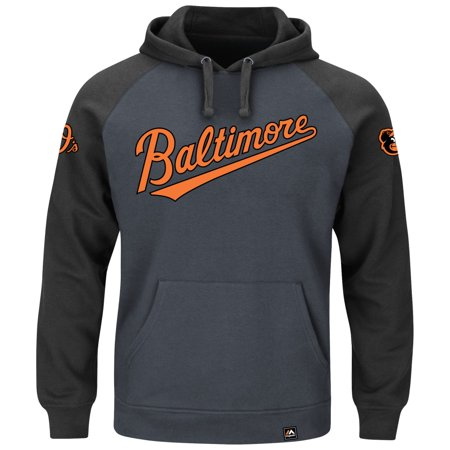 "Baltimore Orioles Majestic MLB ""Cunning Play"" Mens Hooded Sweatshirt Charcoal by"