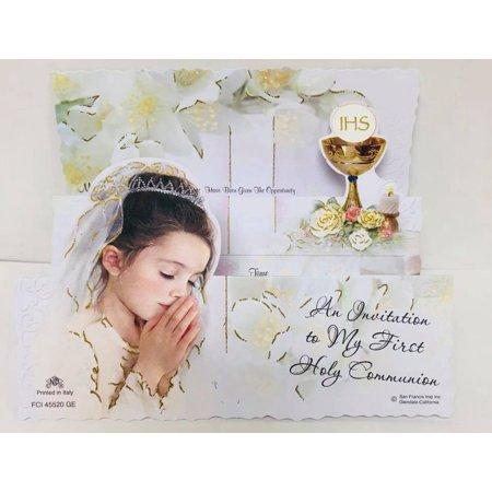 Holy Communion Girl and Chalice English Design Invitations W Envelopes 8 Count (First Holy Communion Invitations)