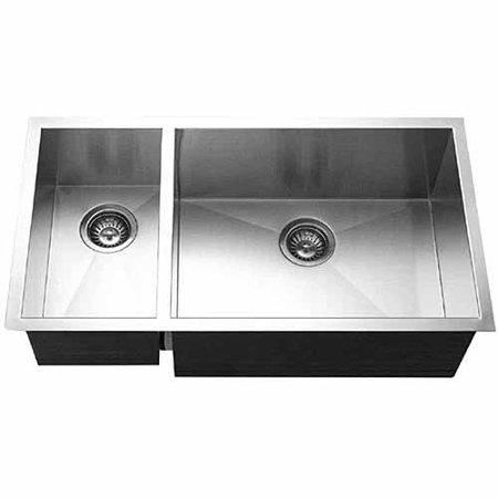 Houzer CTO-3370SL Contempo Series Undermount Stainless Steel 70/30 Double Bowl Kitchen Sink, Prep Bowl Left