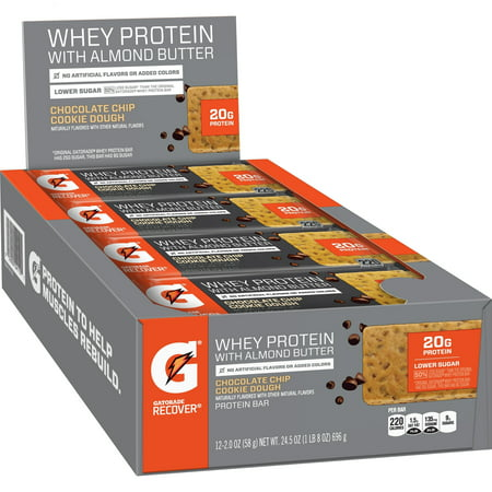Gatorade Whey Protein with Almond Butter Chocolate Chip Cookie Dough Bar, 24.5 Oz., 12 - Complete Whey Cookies