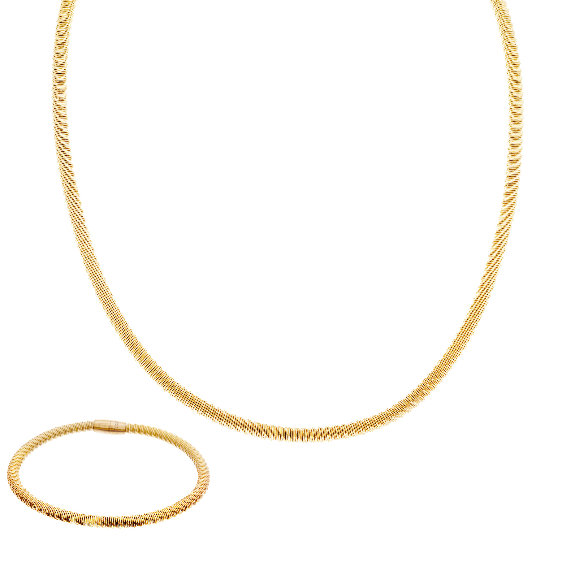 "Gold Tone Stainless Steel Snake Chain 17.5"" Necklace and 7.5"" Bracelet Set"