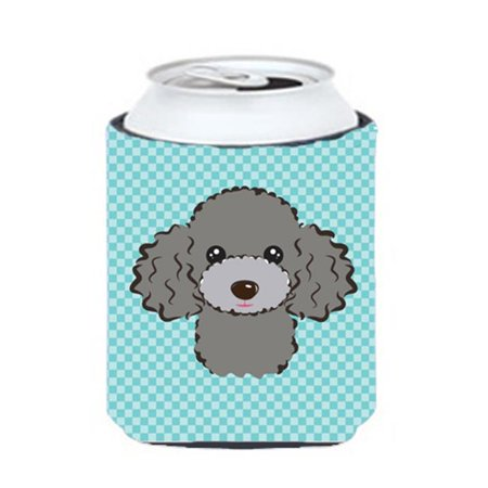 Checkerboard Blue Silver Gray Poodle Can Or Bottle Hugger, 12 Oz. - Gray Poodle