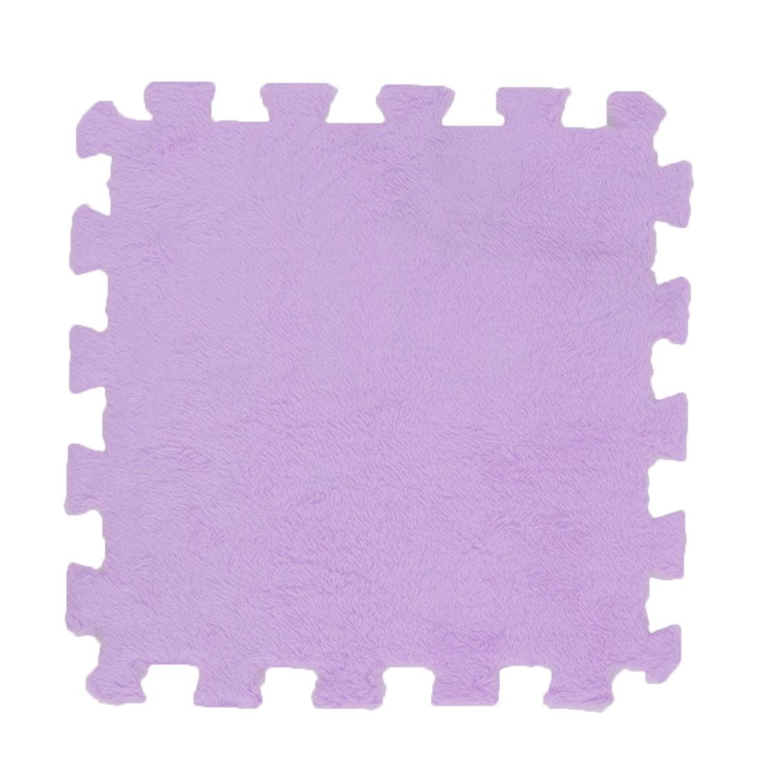 Household Bathroom Coral Fleece Square Shape Antiskid Door Floor Mat Pad Purple