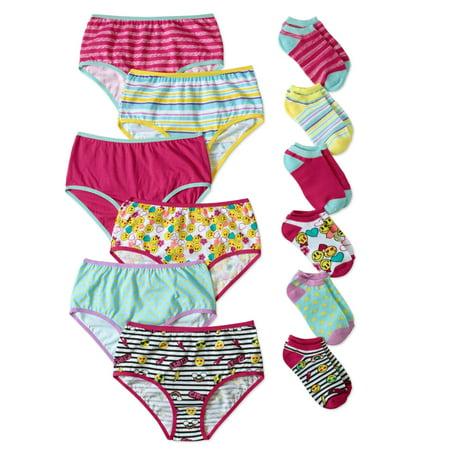 Wonder Nation Girls Brief Panty and Sock Pack, 12 pack