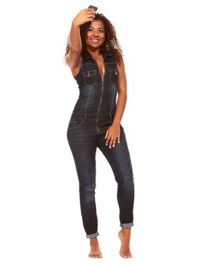 16edaa11b36 Product Image Skinny Sleeveless Slim Fit Stretch Jumpsuit Romper Long Jeans  Plus Size 16W Dark Blue