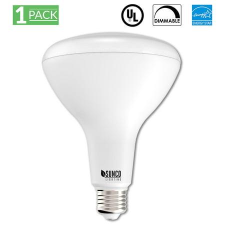 sunco lighting 1 pack br40 led light bulb 17 watt 100 equivalent 5000k kelvin daylight 1400. Black Bedroom Furniture Sets. Home Design Ideas