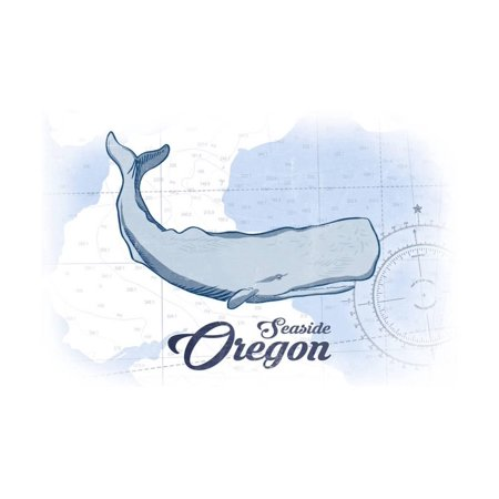 Seaside, Oregon - Whale - Blue - Coastal Icon Print Wall Art By Lantern Press