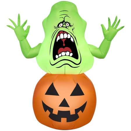 gemmy airblown inflatable ghostbusters slimer on pumpkin - 3.5' tall