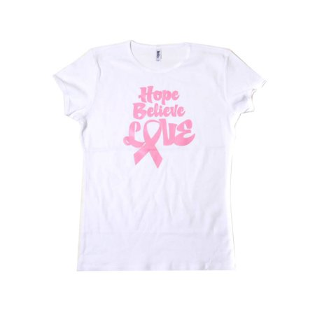 Womens Hope Believe Love Breast Cancer Awareness White T Shirt