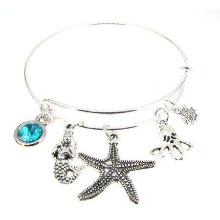(Mermaid Bracelet Silver Plate Expandable Bangle  Octopus  Starfish Fish)