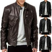 Winter Warm Genuine Black&Brown Leather Jacket New Men Slim fit Biker Motorcycle